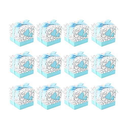 YTNGYTNG Caja de Regalo 50pcs Corazones diseño Caramelo Boxeo Cuadrado Cajas de Chocolate contenedor de Regalo con Cinta para la Boda (Rojo) (Farbe : As Shown)