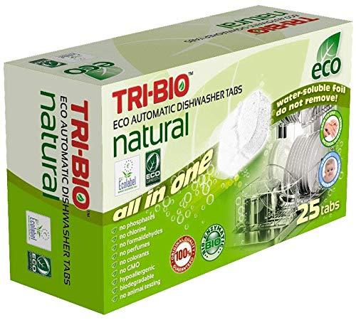 TRI-BIO Tabletas eco naturales para lavavajillas automáticos, todo en uno (25 pestañas)