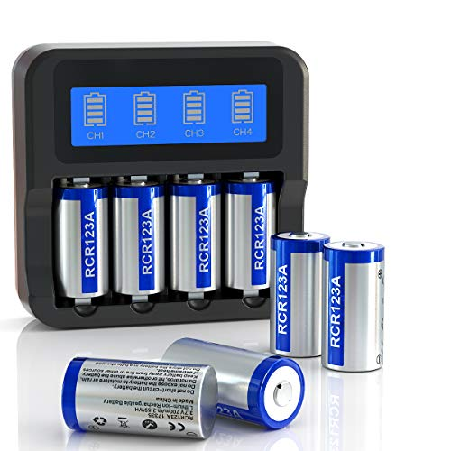 Elebase CR123A Rechargeable Batteries and Charger Combo Pack, Four Slots LCD Display Charger with 8 Pack 3.7V 700mAh RCR123A Batteries for Arlo Cameras (VMC3030/VMK3200/VMS3330/3430/3530)
