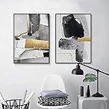Moderno abstracto geométrico negro blanco bloque de color hoja de oro arte de la pared impresión del cartel lienzo pintura para la decoración de la sala de estar 50x80cmx2pcs sin marco