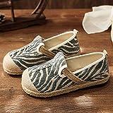 Jskdzfy Zapatos bordados hechos a mano para mujer, de lino, de leopardo, de algodón, sin cordones, informales, de lona, alpargatas planas transpirables y cómodas (color: verde, tamaño: 2,5)