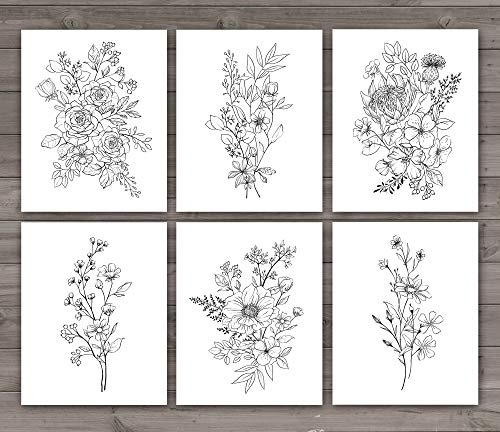 SL Design 6 Panel Botanical Black and White Flower Wall Art Print UNFRAMED, Wildflower