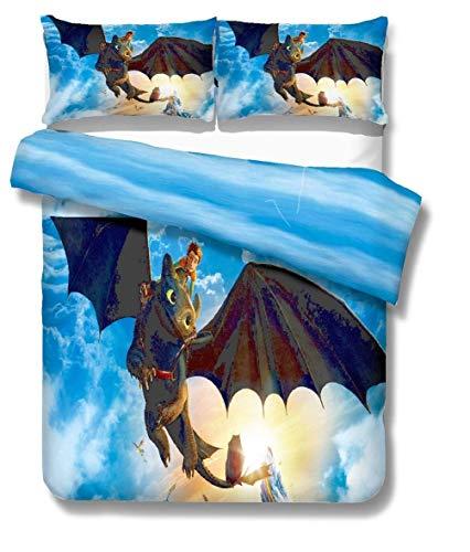 917 How to Train Your Dragon Duvet Cover Bedding Set - Duvet Cover and Pillowcase Microfibre 3D Digital Print 3-Piece Children's Bedding Set, 3, 200 * 200cm