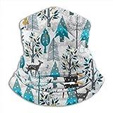 Cathycathy Invierno Nieve Woodland Animals Gold Neck Warmer Polaina Bandana Head Wrap Bufanda Headwear Pasamontañas