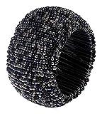 Baumwolle-Klinik Glas Serviettenringe 12 Stück Schwarz serviettenringe für hochzeit, weihnachten, täglicher Gebrauch, Abendessen, Tischgesellschaft Dekor - 5