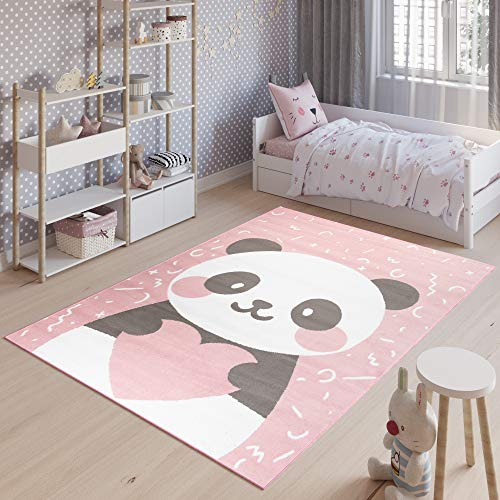 TAPISO Jolly Tapis de Chambre Enfant Bébé Design Moderne Rose Blanc Gris Panda Jeu Fin Doux Résistant 160 x 220 cm
