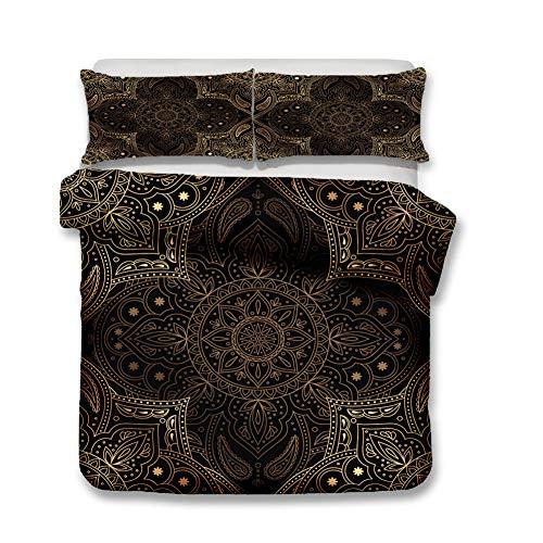 HY - beddengoedset in Boheemse stijl en twee kussenslopen, microvezel, drie sets 3D-digitale print. (H,135 x 200 cm)