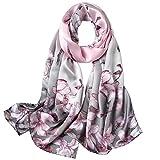 STORY OF SHANGHAI Bufandas de 100% Seda Flores Pañuelo de Morera Grande Mujer Chal Wraps Estolas Madre y Regalos Alta 170cm*55cm,Magnolia Púrpura