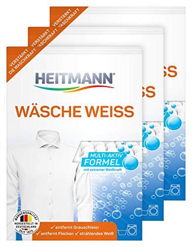 HEITMANN Wäsche Weiss: Waschmittelzusatz für alle Temperaturen, beseitigt Vergilbungen und Grauschleier, wirkt fasertief, mit Aktiv-Sauerstoff und 3fach-Formel für extreme Weisskraft, 3×50g
