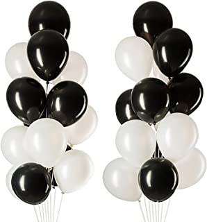MOWO Black White Latex Balloons, Party Decorations, Helium Balloons, 12 inches, 3.2g/pcs, Pack of 100