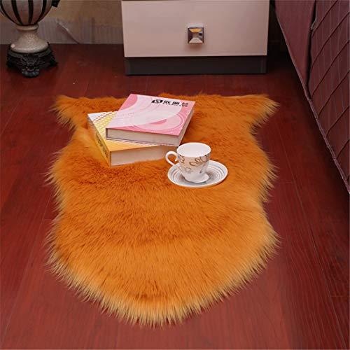 Alfombra de imitación de piel de cordero, imitación de pelo largo, alfombra de cama o sofá (naranja, 60 x 150 cm)