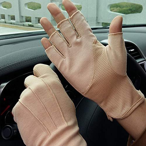 Sommer Halbfinger Handschuhe Baumwolle Fahrradhandschuhe Kurz Spitzenhandschuhe Anti-Rutsch, Anti-UV Schutz, Dünn Sonnenschutz Fäustlinge Gloves für Fahren Motorrad Radfahren (Khaki Halbfinger)