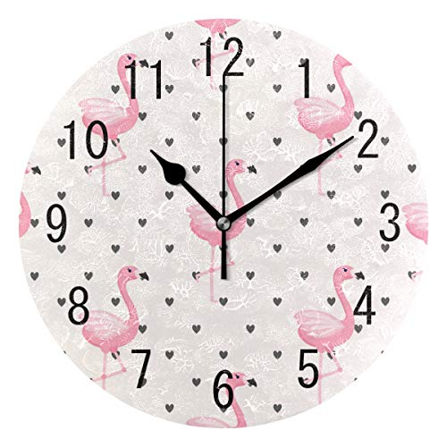 ALAZA Home Decor Tropical Flamingo Bird Heart Print Round Acrylic 9.5 Inch Wall Clock Non Ticking Silent Clock Art for Living Room Kitchen Bedroom