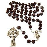 R Heaven - En caja de regalo de madera rosario con crucifijo celta
