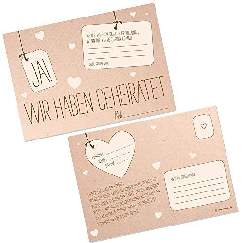 Ballonkarten JA Kraftpapier Optik 50 Stück Ballonflugkarten Ballonstart Hochzeit Extra Leicht