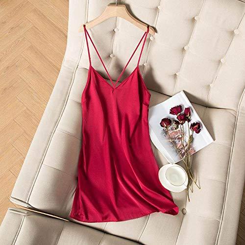 HUANSUN Bata de satén Ropa de Dormir Femenina Regalo de Boda Nupcial Sedoso Albornoz Informal Kimono Bata Camisón Ropa de Dormir, camisón Rojo, M