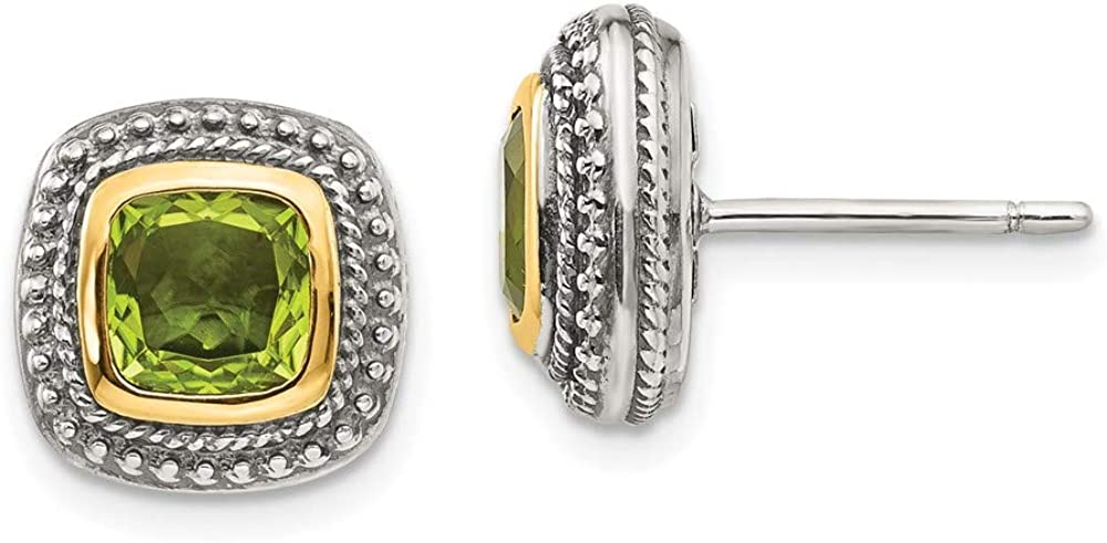Sterling Max 84% OFF Silver and 14k Earrings NEW before selling Peridot Gold Yellow