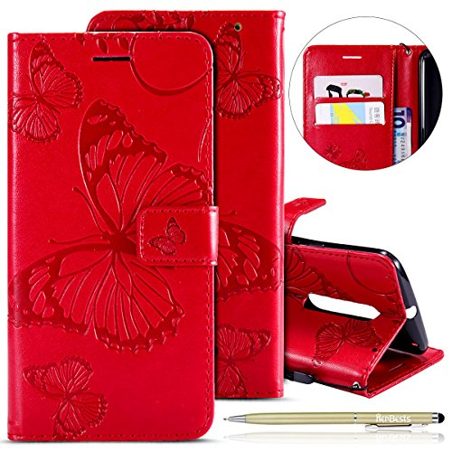 Herbests Compatible with MOTO X Style Wallet case Butterfly Pattern Premium Eelegant Leather Stand Flip Full Body Protective Cases Cover Credit Card Slot Magnetic Closure,Red