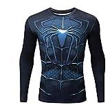 Camiseta De Manga Larga Deportiva Spider-Man, Top De Confort De Verano,Blue-XXXL