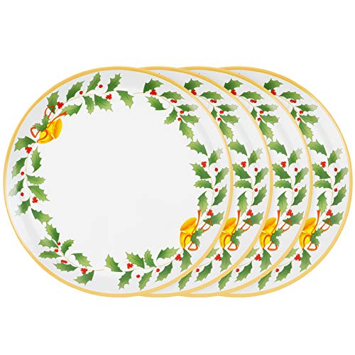 Christmas Dinner Salad Plates Holiday Plate Set Christmas Dinnerware Gold Edge Set of 4 with Holly, Berry, Bell Ceramic Plates Set for Christmas