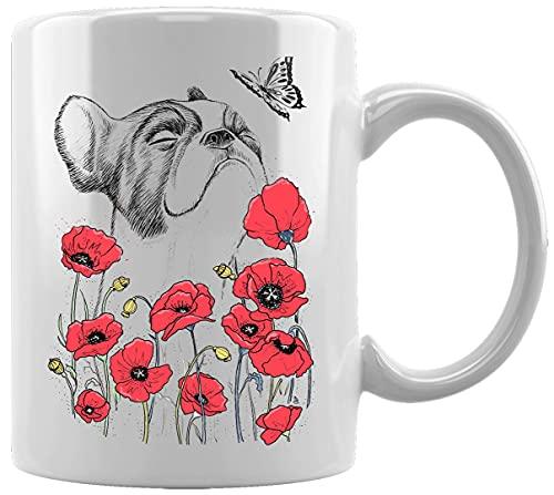 Doguillo En Flores Y Mariposa Taza Blanca De Cerámica Hogar De Oficina De La Taza Del Agua Té Café White Ceramic Mug