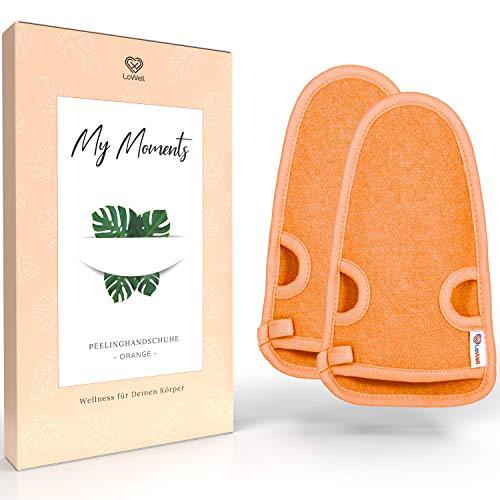 LoWell® Guante exfoliante rugoso con guía de exfoliación + 2 ventosas GRATIS - Relajación para tu cuerpo - Guante wellness - Esponja de ducha - Guante para rostro hamam (naranja/naranja)