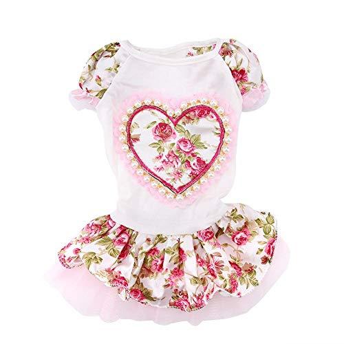 Mumusuki Perle Blume Schmuck Haustier Hund Kleid Brautkleider Elegante Prinzessin Herzförmigen Faux Rock Kleidung Für Hunde Kostüm Party Supplies XS, S, M, L(M)