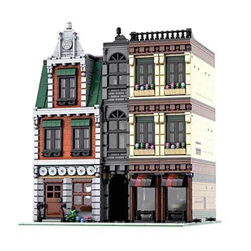 Sunbary Bouwstenen huisbouwset, 4147 delen huizen in de binnenstad, modelbouwset, doe-het-zelf modulaire bouwstenen, bouwmodel, compatibel met Lego House