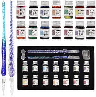 [モコシャレ] ガラスディップペンインクセットレインボークリスタルガラスペン ガラスペン 万年筆 サインペン 透明 インク セット ハンドクラフト 18点セット おしゃれ ギフト ボックス付き (18本セット)