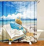 MundW DAS DESIGN Duschvorhang Strand Meer Stern Sommer Textil Vorhang Buch Welle Muschel Antischimmel waschbar 12 C-Ringe Farbfest Gewicht unten 180x200(B*H) cm