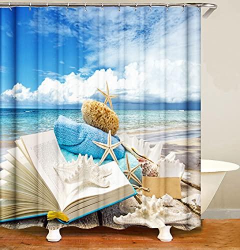 M&W DAS DESIGN Duschvorhang Strand Meer Stern Sommer Textil Vorhang Buch Welle Muschel Antischimmel waschbar 12 C-Ringe Farbfest Gewicht unten 180x200(B*H) cm