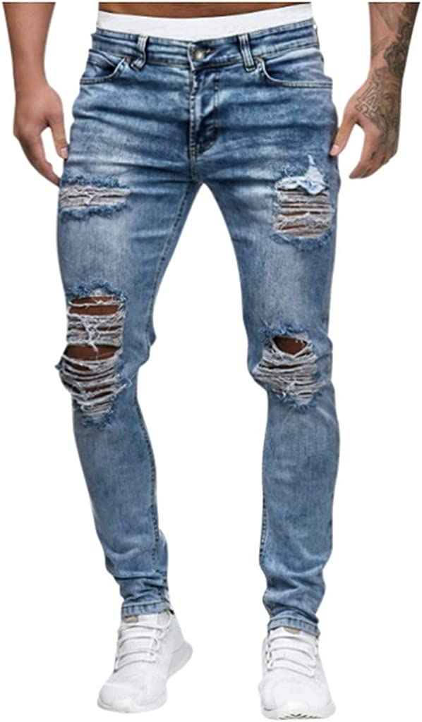 Burband Mens Ripped Jeans Skinny Stretch Distressed Destroyed Denim Jeans Slim Fit Fashion Tapered Leg Casual Pencil Pants