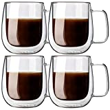 Double Walled Glass Coffee Mug, Set of 4, Cappuccino Cups, Tumbler Tea Cup Set Double Wall Keep Drinks Hot or Cold, 9 ounce