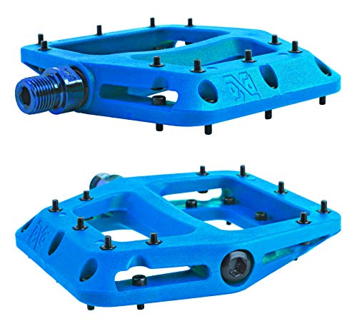 PDX New Wide Bike Pedals for MTB, BMX, XC, DH, Enduro, Dirt Jumper, Mountain and Trail, Race Series Needle and Roller Ball Bearings, 9/16 High-Strength Non-Slip Nylon (Blue Turquoise)