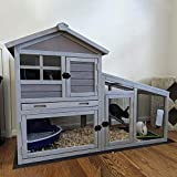 GUTINNEEN Rabbit House Indoor Outdoor Rabbit Hutch with Ventilation Door,Wooden Bunny cage with No LeakageTray, Removable Bottom Wire Mesh & PVC Layer,Chicken Coop UV Panel
