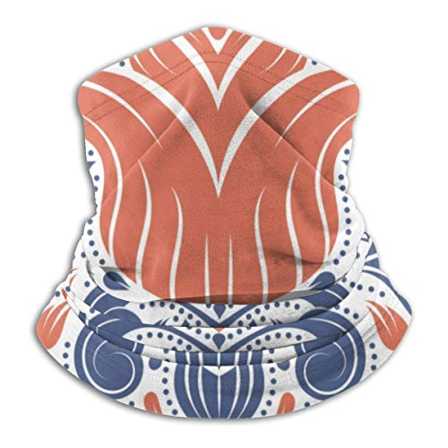 ASDAH Paisley Elements Oranje en Blauw Bloemenpatroon Zachte fleece Nekwarmer bivakmuts