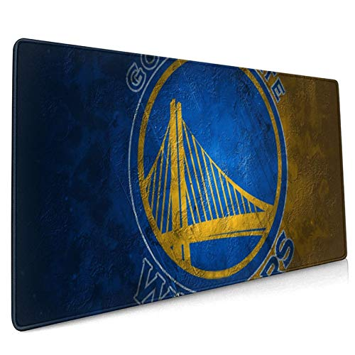 WEIQIQQ State_Warriors_Basketball Sports_Golden XXXL Large Gaming Mouse Pad for Desk, Waterproof Office Mousepads Non-Slip Rubber Base with Stitched Edges for Home Games, Laptop Mat 18.5x35.5 Inch