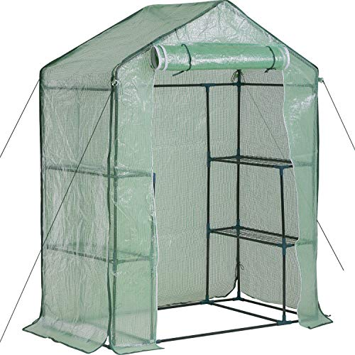FDW Greenhouse for Outdoors Greenhouse Plastic Mini Greenhouse Kit Indoor Small Portable Greenhouse 4.9' L x 2.4'W x6.4'H Plant Shelves Tomato Herb Canopy Winter Walk-in Green House for Patio