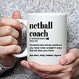 N\A Netball Coa-ch Gift Taza de café Divertida para Hombres y Mujeres para Agradecimiento de cumpleaños Regalo de Agradecimiento Una Taza de café Divertida con Nombre Personalizado Personalizado