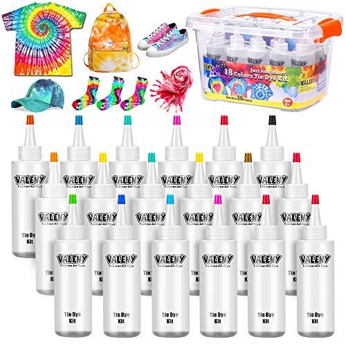 Vacoulery Tie Dye Kit, 18 Colori di Tinture per Tessuto 120 ML Non Tossico One Step Pittura Permanente Tessile Vibrante del Tessuto a per Bambini Adulti Tintura Tessuti Camicie Fai