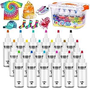 18 Colores Tie Dye Kit 120ML Vibrantes Tintes Para Tejidos Conjunto Tinte Tie de un Solo Paso Camisa Tela Tinte Duministros No Tóxicos Moda de Bricolaje para Niños Adultos