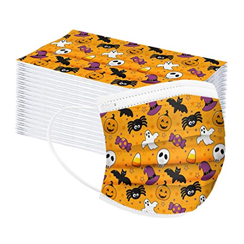 LIJUCH Disposable Face M-à/_s_/K Windproof Dustproof Mouth Protective C_o /v-e-rs for Halloween Decorations 100PCS