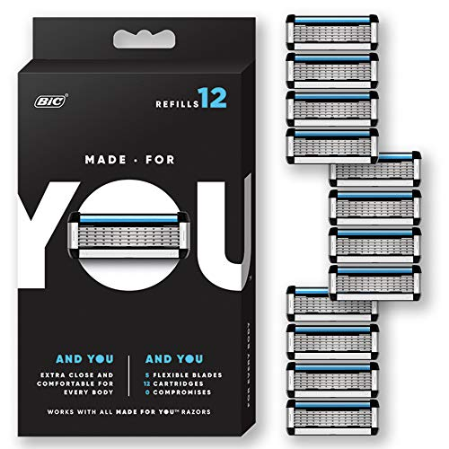 Made for YOU by BIC Shaving Razor Blades for Every Body - Men and Women, 12 Count - Refill Cartridges with 5 Blades for a Close Shave with Aloe Vera and Vitamin E for Smooth Glide