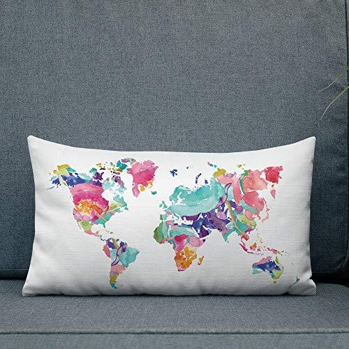 Meg121ace Mapa del mundo Funda de almohada con mapa de inserción almohada almohada mapa floral almohada decoración guardería almohada lumbar almohada