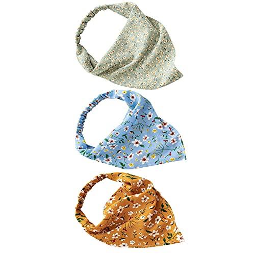 Pañuelos de cabeza de triángulo con pinzas para el cabello, 3 piezas, con diseño floral, ajustable, elástico, estampado floral, turbante, bohemio, con clips, para mujeres y niñas