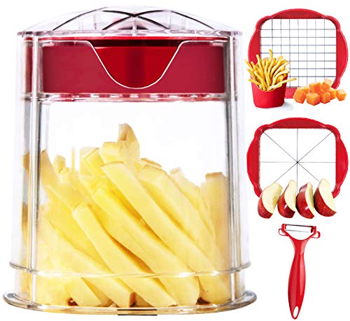 French Fry Cutter Apple Cutter Onion Chopper Vegetable Slicer Super Sharp Blades Easy to Clean Dishwasher Safe Perfect for Air Fryer With Container