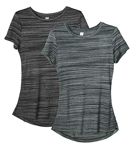 icyzone Damen 2-Pack Kurzarm Shirt Atmungsaktiv Oberteile Fitness Gym Top Casual T-Shirt (S, Charcoal/Pine)