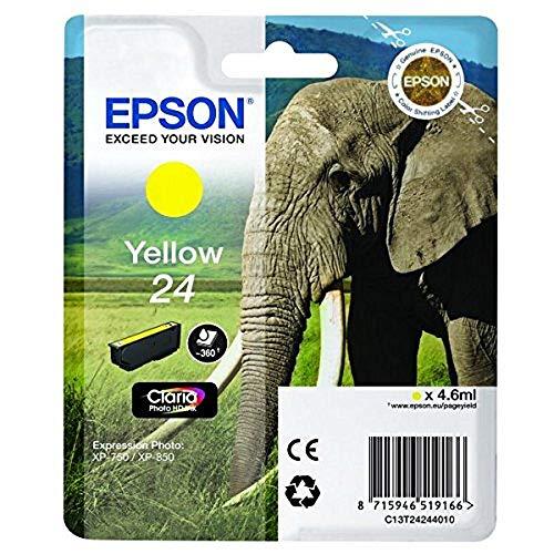 Epson Original 24 Tinte Elefant (XP-750 XP-850 XP-950 XP-55 XP-760 XP-860 XP-960 XP-970, Amazon Dash Replenishment-fähig) gelb