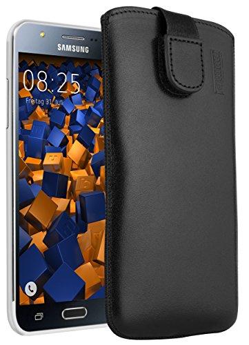 mumbi Echt Ledertasche kompatibel mit Samsung Galaxy J5 2015 Hülle Leder Tasche Case Wallet, schwarz
