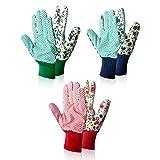 Yesloo 3 paia guanti da giardinaggio, guanti da lavoro, Guanti Giardino e Lavoro, Fiore Verde/Rosa (A)